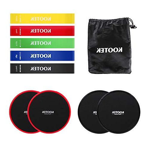 Kootek Bands and Core Finess for 80 Day Obsession, 4 Gliding Discs Bands Bundle, Floor Gym