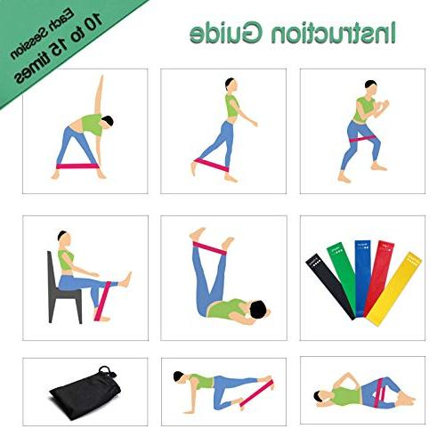 HOONSO Resistance Bands of 5 Exercise Loops 9 Workout fit Home Physical Therapy Bag 10-50lbs