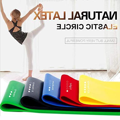 HOONSO Resistance Bands Set of 5 Exercise 9 inch fit Home Physical Therapy with Carry Bag 10-50lbs