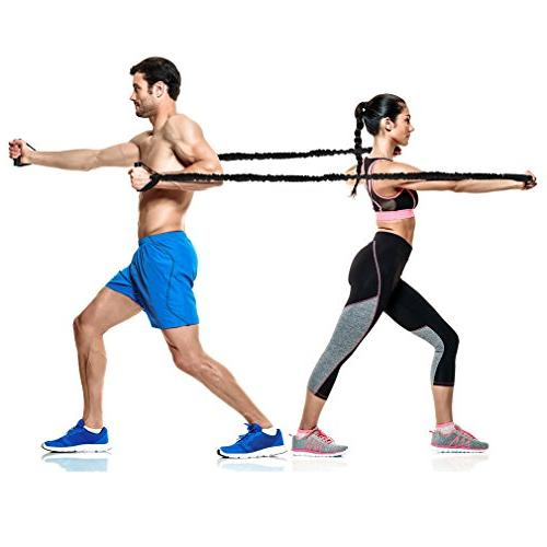 Soeenaper Pack Resistance Bands & Guide 35Lbs Latex Resistance Bands Home Workouts Training Boxing Therapy