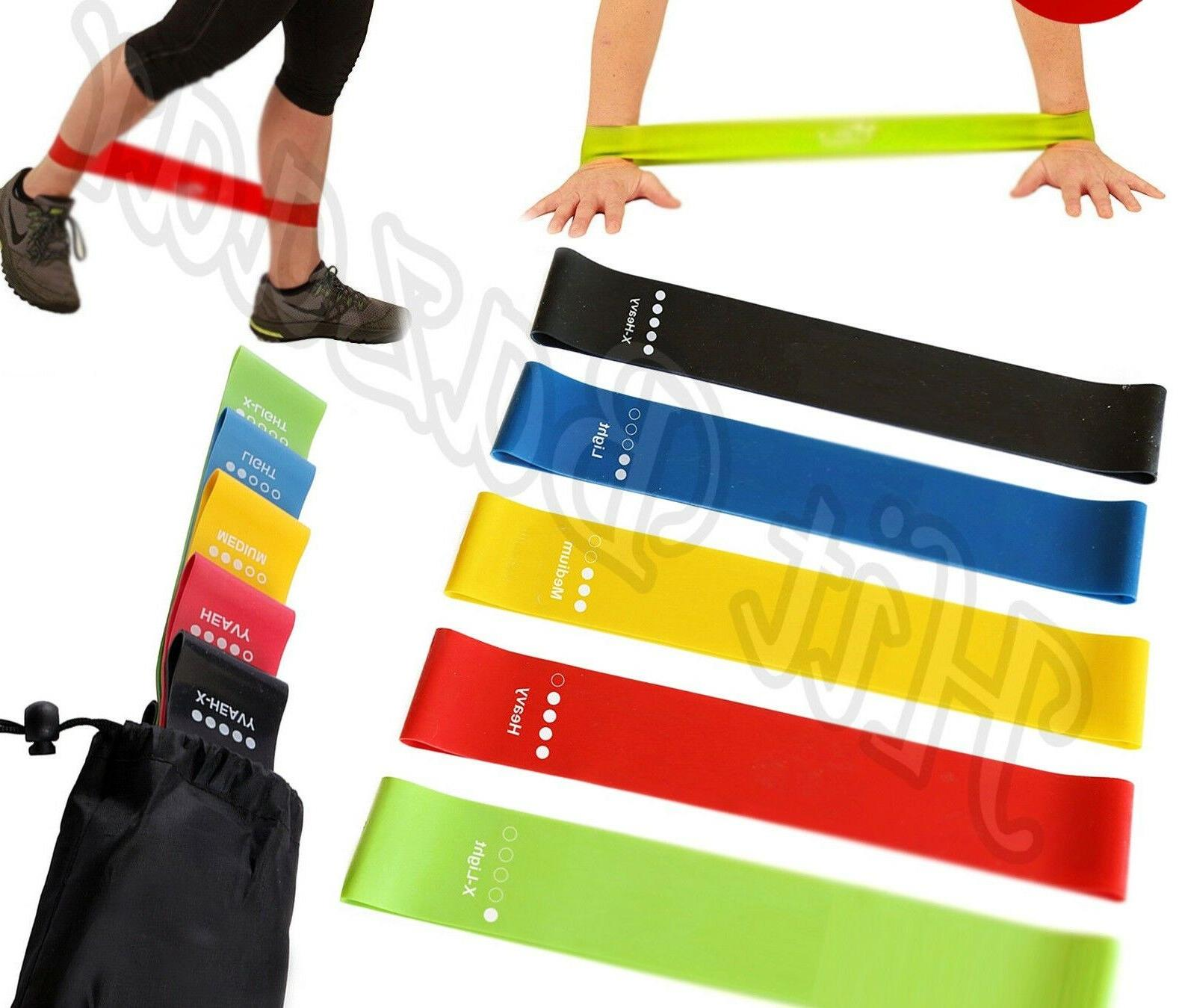 RESISTANCE BANDS LOOP Exercise Yoga Training Set Of 5 Elasti