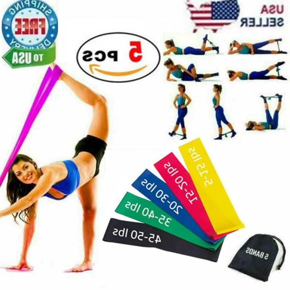 Resistance Bands Loop Set 5 Legs Exercise Workout CrossFit F