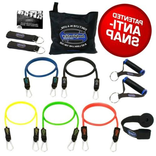 Resistance Bands Set BODYLASTICS 12 PCS Patented Anti-Snap I