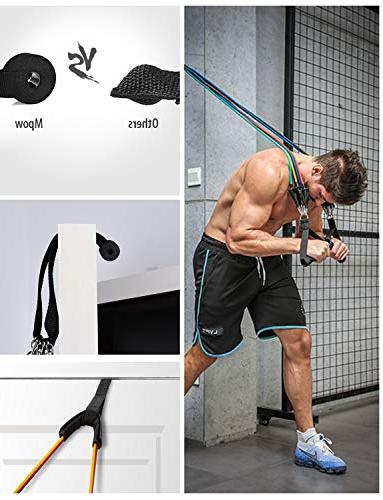 Mpow Bands with Handles, Snap Exercise Bands Door Ankle Heavy Resistance Tube Bands for Muscle, Strength