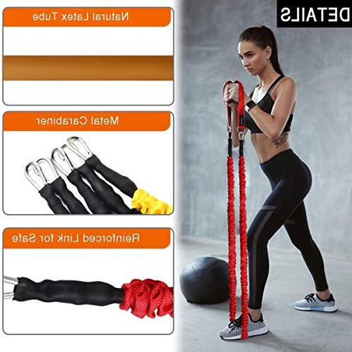 Coolrunner 14 PCS 20lbs to Tubes with Men Bands with Handle Ankle Strap Stackable Up 150lbs