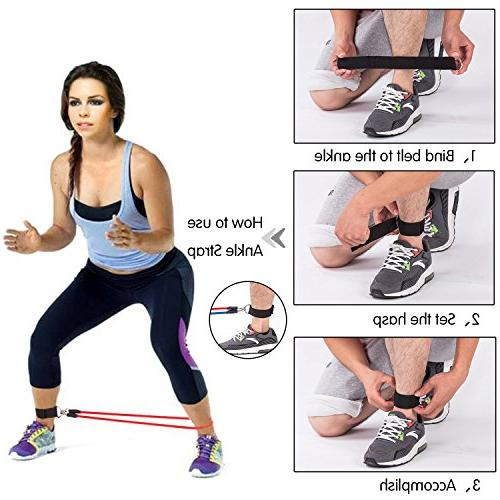 Koncle Set, Exercise Include 5 Exercise Bands, Door Anchor, Ankle Waterproof Carrying Case, for Training, Sports & Outdoors