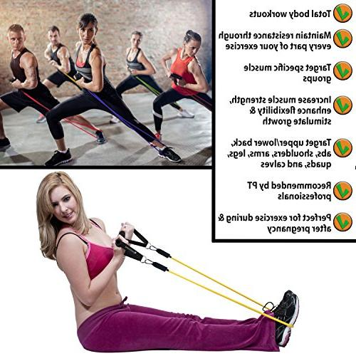 Resistance Bands for Legs Butt 5 Heavy Bands - Door Anchor, and Straps to Lbs For Therapy,