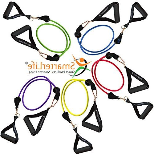 Resistance Set Legs and 5 Heavy Bands - With Door Anchor, Straps - Stackable up to Lbs - For Training, Therapy,