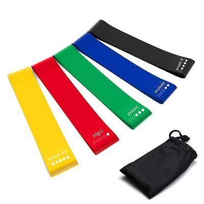HOONSO Resistance Bands Set of 5 Exercise Loops 9 inch Worko