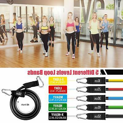 Resistance Bands, 5 Stackable Exercise Bands with Handle