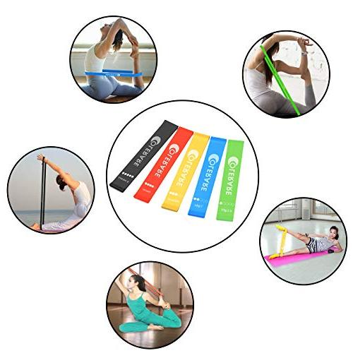 Colerare Exercise Bands Home Fitness, Therapy, Latex Bands,Crossfit, Pilates Flexbands,Set of 5