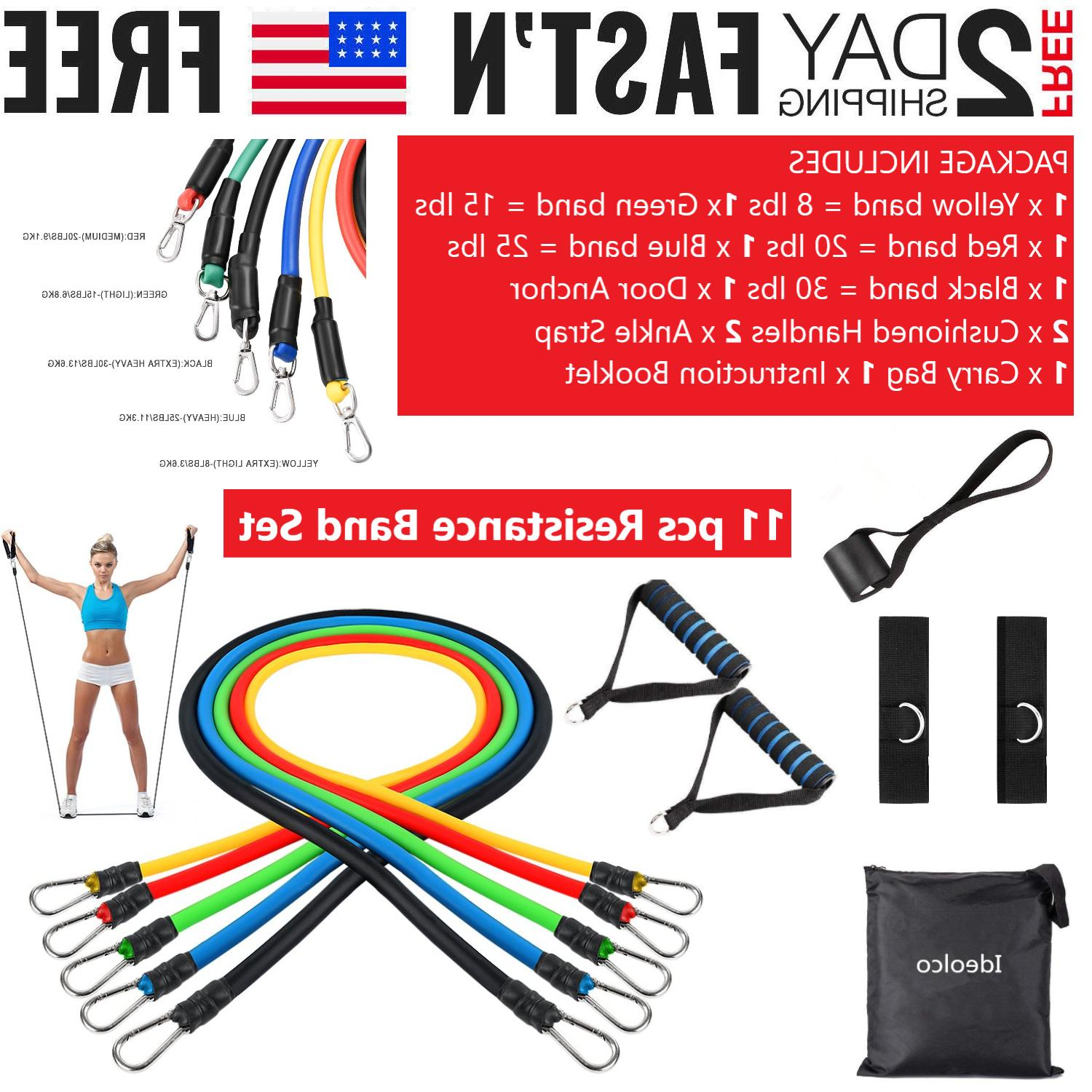 resistance tubes bands fitness train loop set
