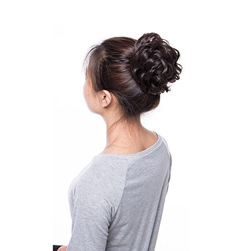 Scrunchy Updo Hair Extension Wavy Hair Ombre Blonde Brown Black