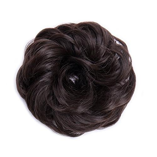 Scrunchy Wavy Donut Chignons Synthetic Ombre