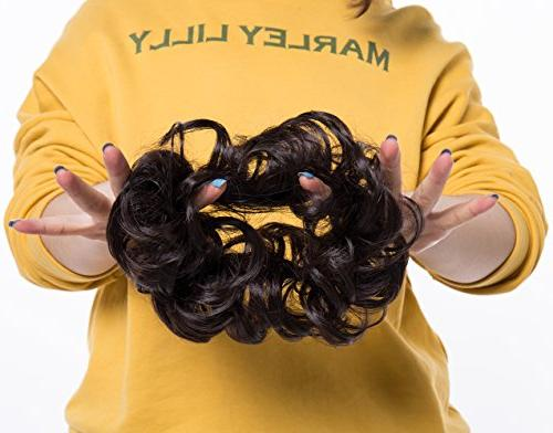 Scrunchy Wavy Hair Messy Donut Chignons Synthetic Hairpiece Ombre