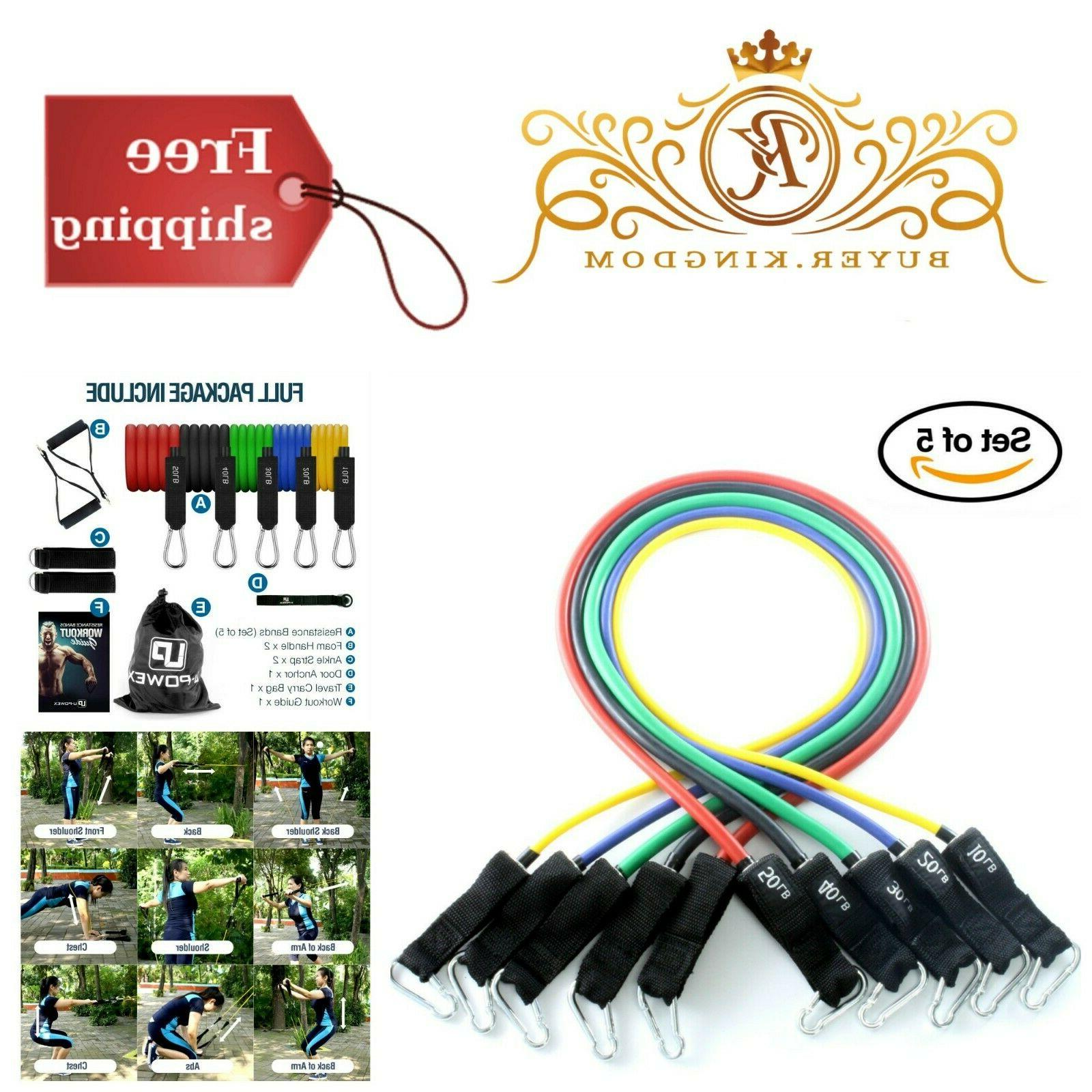 set of 5 exercise workout resistance bands