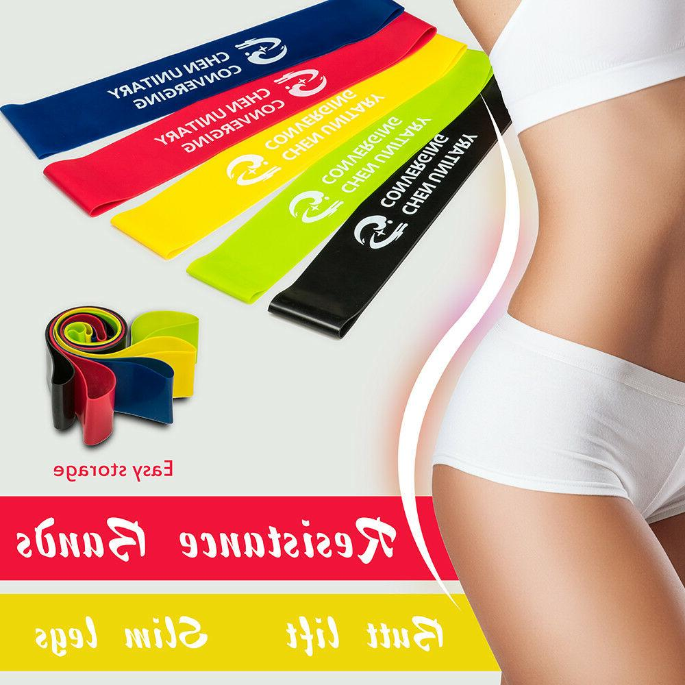 Set of 5 Resistance Exercise Loop Bands Gym Home Fitness Pre
