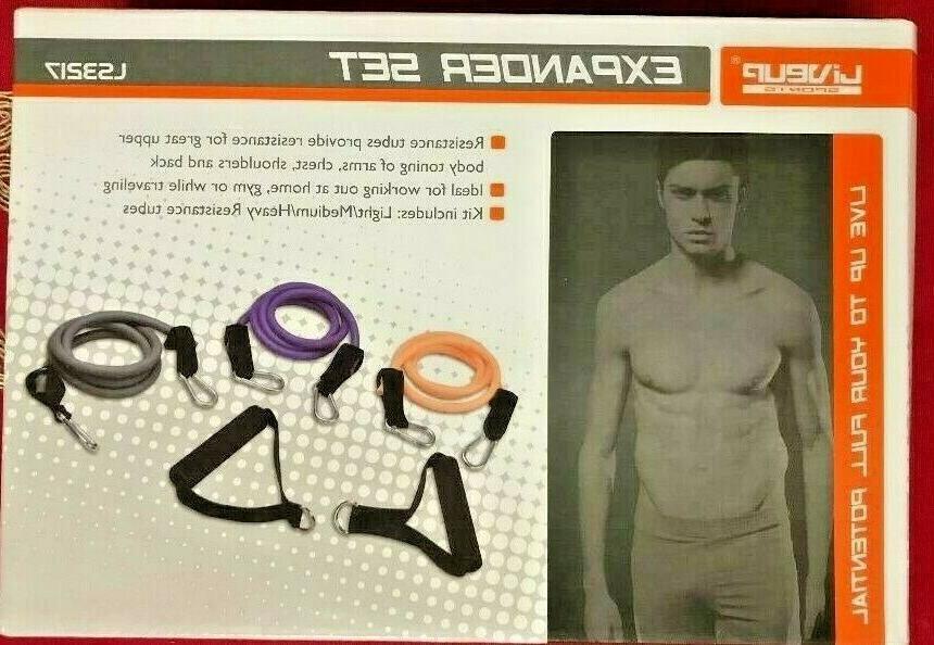 set resistance bands tubes set fitness pilates