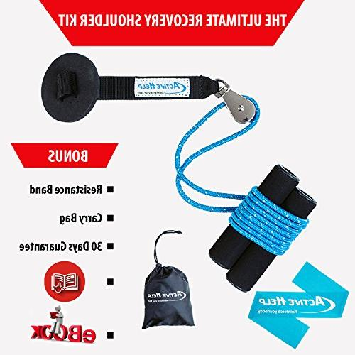 Shoulder Pulley - Home Over Door to Increase Range Strength Recovery + Light Resistance Band Instructions Carry Bag + Ebook by Help