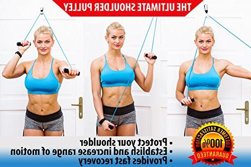 Shoulder Pulley Therapy - Home Exercise Door to Increase Strength Recovery + Instructions Bag + Ebook Help