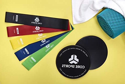 Core Bands, 2 Gliding Discs, 5 Strengthen Ab Gym, Lightweight, Low-Impact