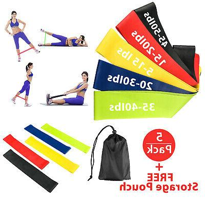 Resistance Bands Loop Set 5 Legs Exercise Workout CrossFit F