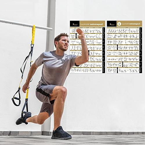 NewMe Fitness SUSPENSION - Large & Easy Resistance Training Total Workout -