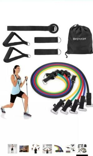 wenfeng 11pc resistance bands set10lbs to 50lbs