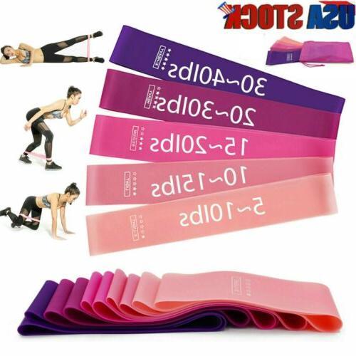 workout resistance bands loop 5 set fitness