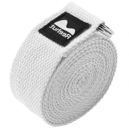REEHUT Yoga Strap 8ft Durable Cotton Adjustable D-Ring Buckle
