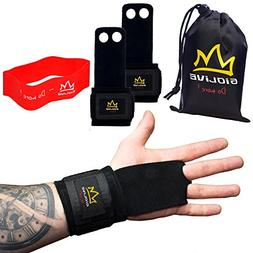 Natural Leather Crossfit Gloves with Wide Wrist Wraps & Resi