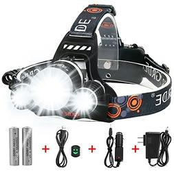 5000 Lumens Max Headlamp, Grde® 3 LED 4 Modes headlight, Ha