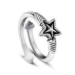 Beydodo Mens Stainless Steel Ring Size 10 Opening Ring Star
