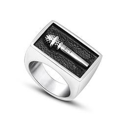 Beydodo Mens Stainless Steel Ring Size 10 Signet Ring Microp