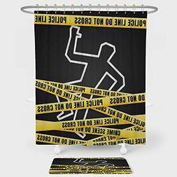 iPrint Murder Scene Shower Curtain Floor Mat Combination Set