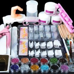 Nail Art DIY Kit Set Acrylic Powder Glitter Rhinestones Tips