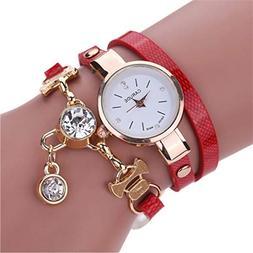 NEW Fashion Women Watch Bracelet Leather Ladies Watch With R
