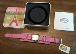 New In Box Fossil JR-8297 Wrist Watch Pink Leather Band Wome
