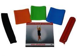 6 PIECE NON-LATEX FLAT YOGA RESISTANCE BAND SET EXERCISE DVD