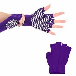 Non-slip Cotton knit Silica gel Bodybuilding Yoga gloves ER