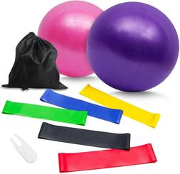 nononfish Resistance Band Pack and Pilates Ball 9 inch Fitne