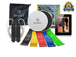 Lykoss 10-in-ONE 2 Exercise Sliders + 5 Resistance Band Loop