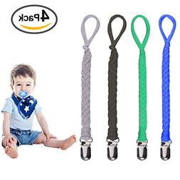 Pacifier Clips for Boys& Girls, 4 Pack Flexible Universal Br