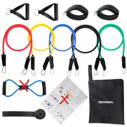 MORECOO Resistance Band 11pc Set with Latex Resistance Bands