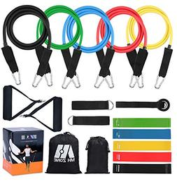 MH Zone 16 pc Resistance Band Set with 5 Exercise Bands, 5 R