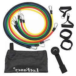 LotFancy Resistance Band Set with 5 Single Exercise Bands, D