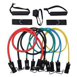 Kuspert 11pc Resistance Band Set with Door Anchor, Handles,