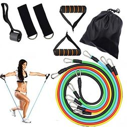 Tomons 11pc Resistance Band Set - with Door Anchor, Handles,