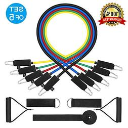WENFENG Resistance Bands Set,Workout Bands- with Door Anchor
