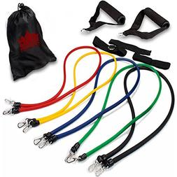 Crown Sporting Goods 10-Piece Resistance Band Set with Carry